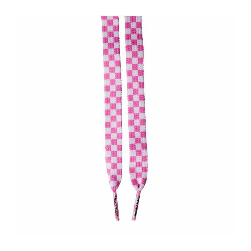 Heelys széles rózsaszín/fehér kockás cipőfűző